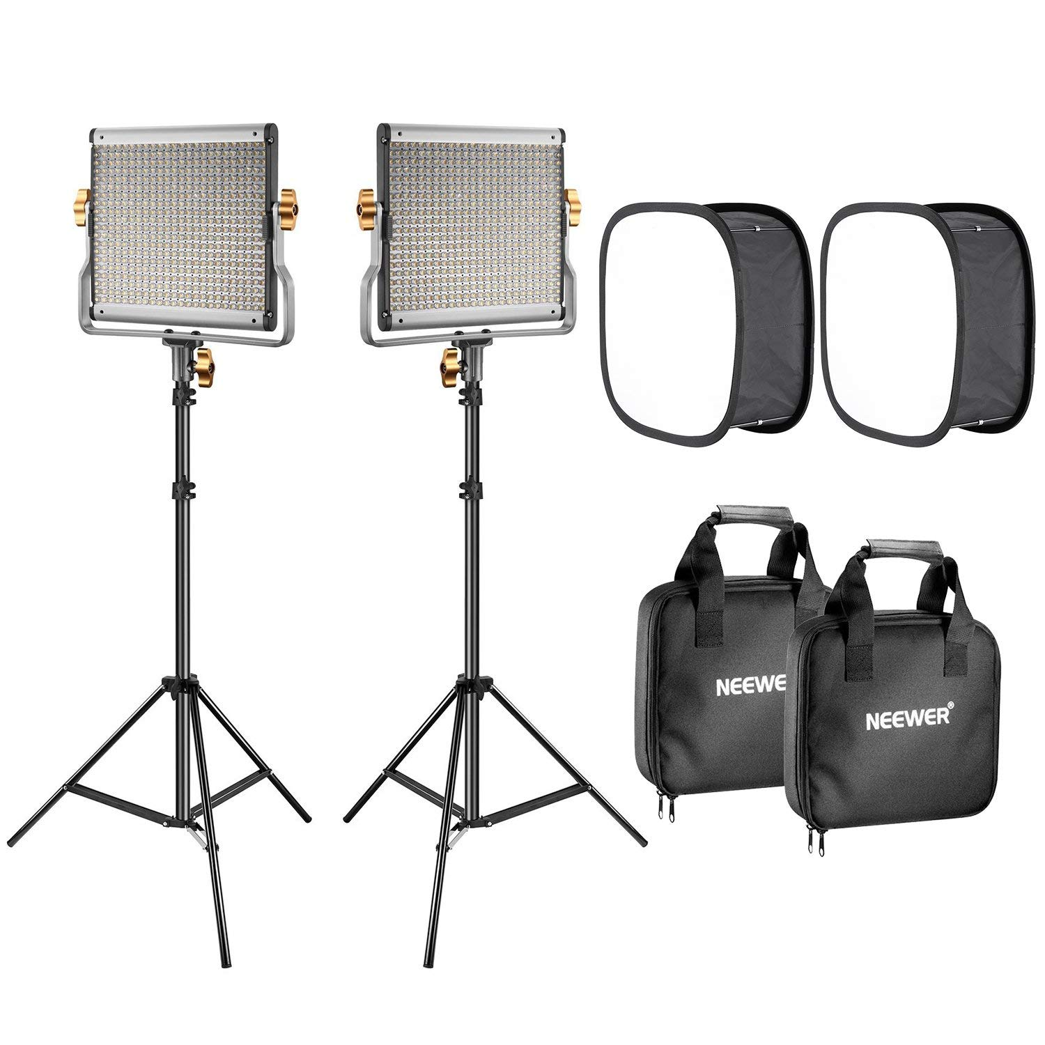 Neewer 2-Pack 480 LED Video Light Lighting Kit: Dimmable Bi-color LED Panel(3200-5600K,CRI 96+), 75-inch Light Stand and Softbox Diffuser for Photo Studio Product Portrait,YouTube Video Photography
