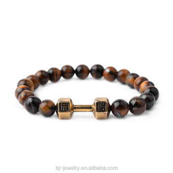 Metal Accessory Dumbbell charm Natural Stone Bead Elastic Men Bracelets