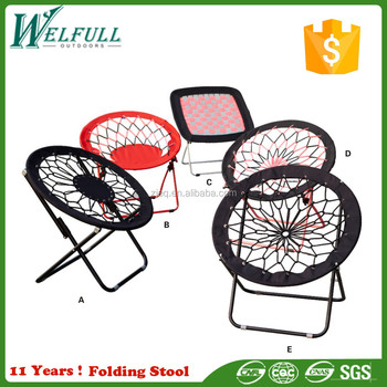 600D Polyester Portable Round Outdoor Folding Bungee Chair Steel Frame  Camping Hiking Garden Patio