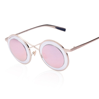 7a27dd72529a Newest Fashion Women Round Sunglasses Personality metal frame Sunglasses  Brand Design Men sunglasses mirror European style
