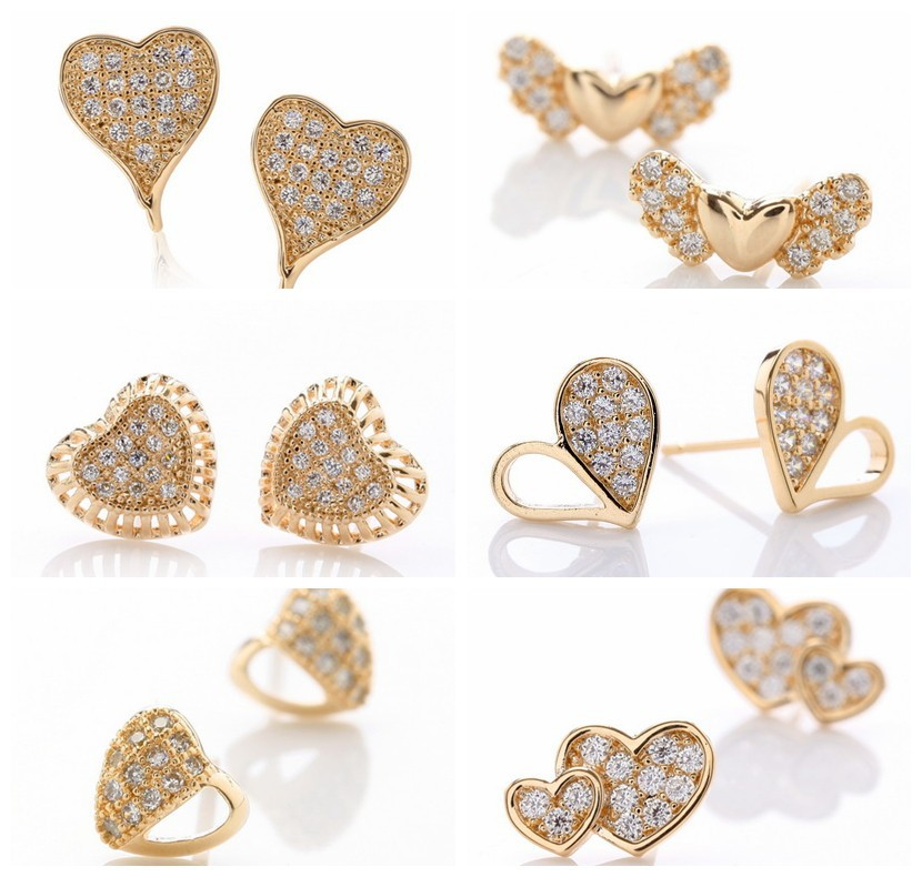 Small 18k Gold Plated White Cubic Zircon Lovely Heart Stud Earrings Designs For S Earring