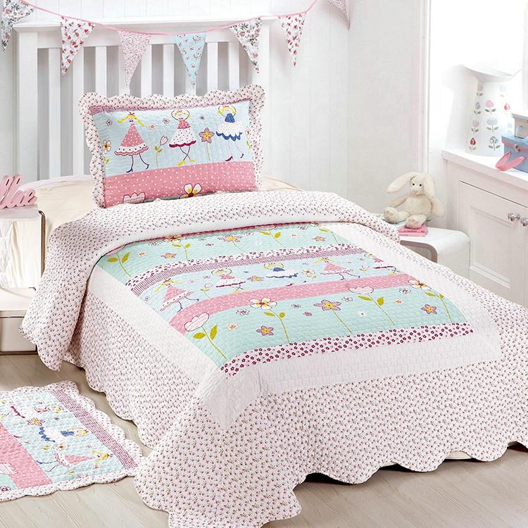 مجموعة أغطية سرير جميلة لطيفة لغرفة النوم للبنات والأطفال مُزينة برقع مطبوع