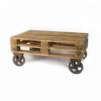 Rustic Warehouse Cart Reclaimed Wood Coffee Table Product On