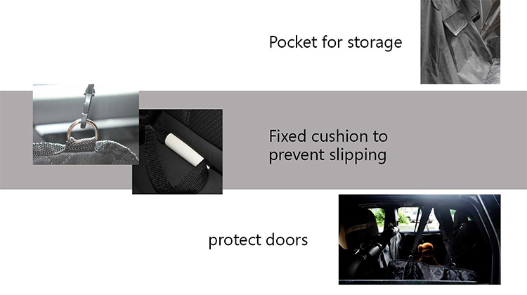 Non slip padded pet car seat cover Pet car mat with holder