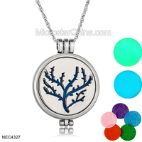 Bohemia Neon Glow In The Dark Tree Stainless Steel Long Pendant Diffuser Necklace