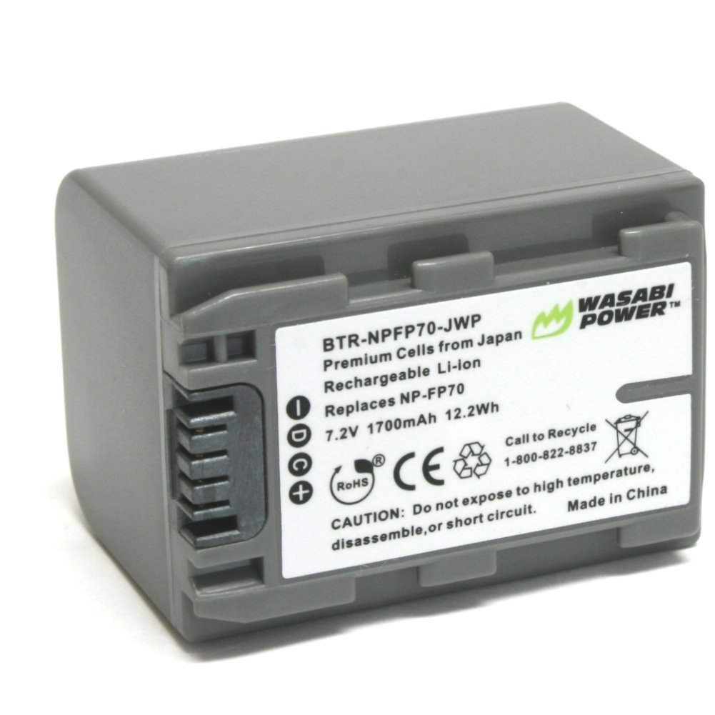 Wasabi Power Battery for Sony NP-FP70 (1700mAh) and Sony DCR-30, DVD92, DVD103, DVD105, DVD202, DVD203, DVD205, DVD304, DVD305, DVD403, DVD404, DVD405, DVD505, DVD602, DVD605, DVD653, DVD703, DVD705, DVD755, DVD803, DVD805, DVD905, HC16, HC17, HC18, HC19, HC20, HC21, HC22, HC23, HC24, HC26, HC27,