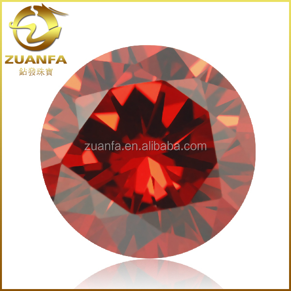 wuzhou synthetic gemstone loose round brilliant cut orange aaa zircon