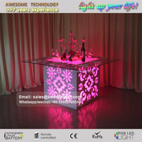 folding up square wedding table, dining use led light up table