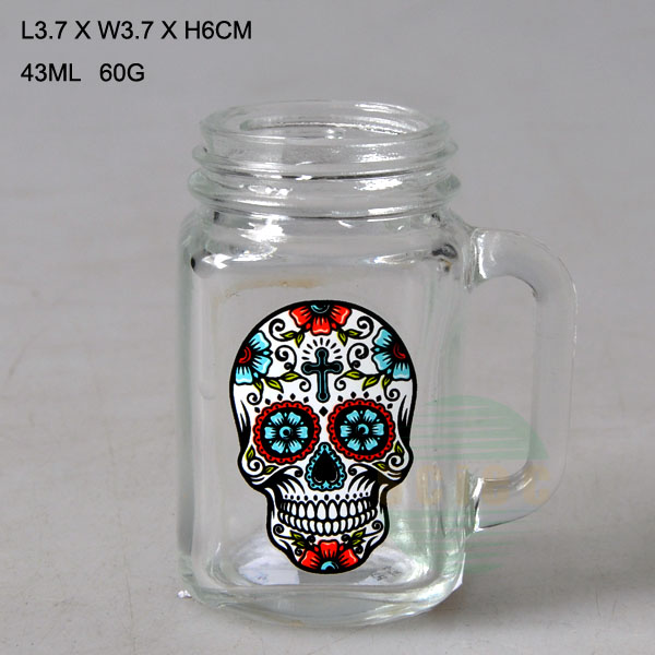 Classic glass storage jar with handle and customized skull head logo and handle