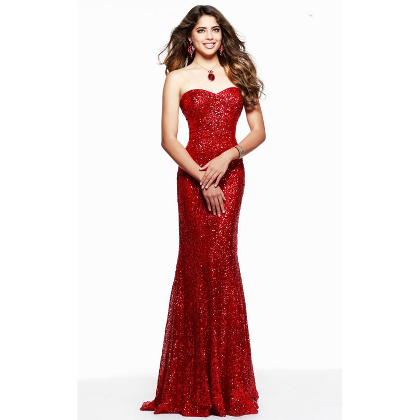 Vestido de festa Red Evening Dress Sparkle Sequin Mermaid ...