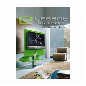 Green Color Painting Bent Glass TV Cabinet lcd glass stand with Stainless Steel Base