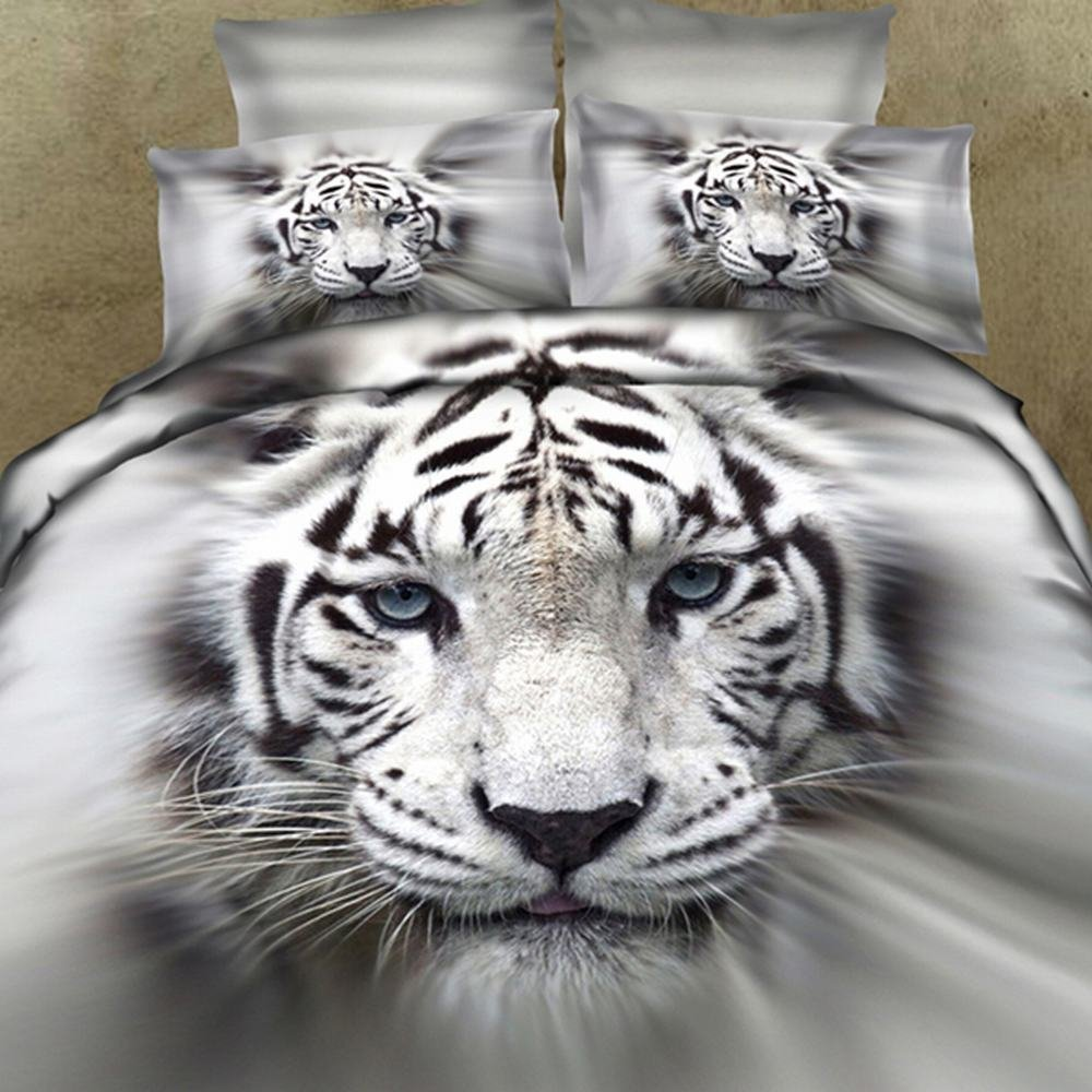Alicemall Giant Tiger 3D Bedding Full Home Textile 100% Cotton Lifelike White Tiger 3D Printed 4-Piece Bedding Sets 400 TC Animal Duvet Cover Sets (Full)