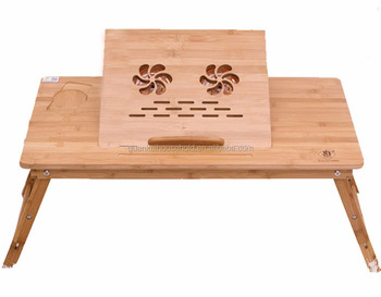 Bamboo Adjule Laptop Desk With Usb Radiator Foldable Reading Table Serving Bed Tray