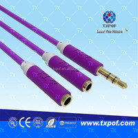 High quality stereo jack to two soket RCA extension gold cable