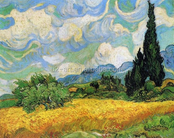 Painting Wheat Field with Cypresses at the Haude Galline near Eygalieres by Van Gogh