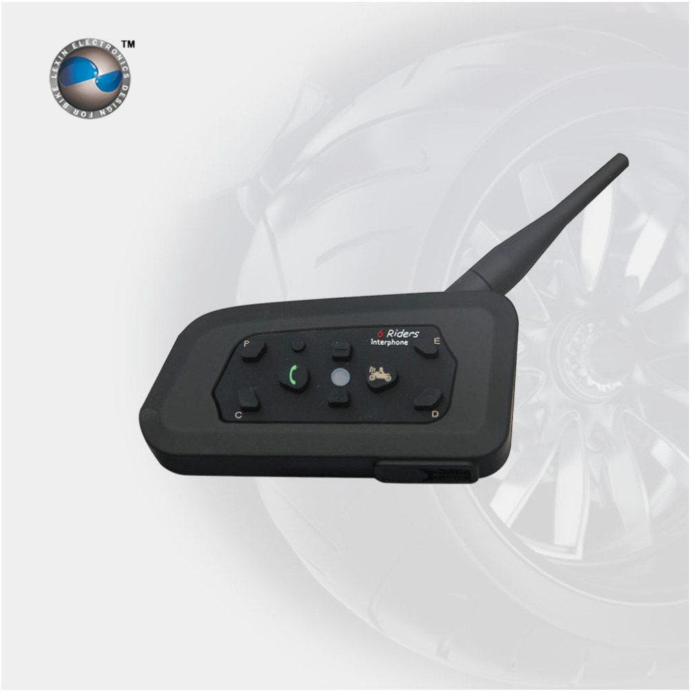 Brand LEXIN R6 interphone Motorcycle Intercom Bluetooth Walkie Talkie 1000M Connects for 6 Riders  Earphone Helmet