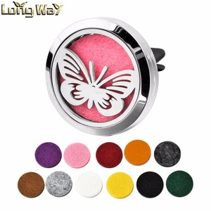Stainless Steel Butterfly Pattern Magnetic Round Aromatherapy Essential Oil Car Diffuser Locket Pendant