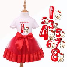 New Arrival 2015 Olá Kitty Bebê Semelhante Menina primeiro Aniversário Vestido As Crianças Usam Roupas de Manga curta T-Shirt + Tutu Vermelho conjunto