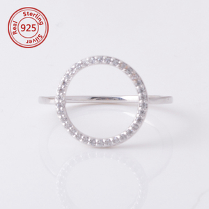 cz open circle ring sterling silver circle ring minimalist ring 925 silver jewelry