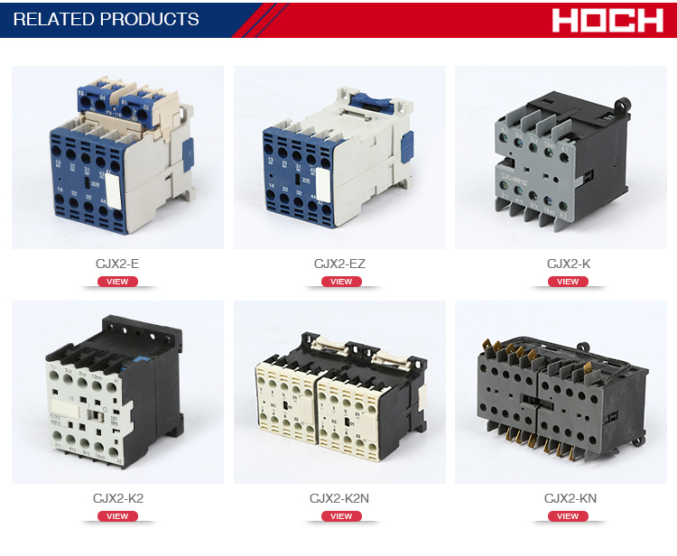 HOCH CJX2-E single two three four 1p2p3p4p pole 380V CJX2-KE series mechanical interlock electrical magnetic ac dc contactor