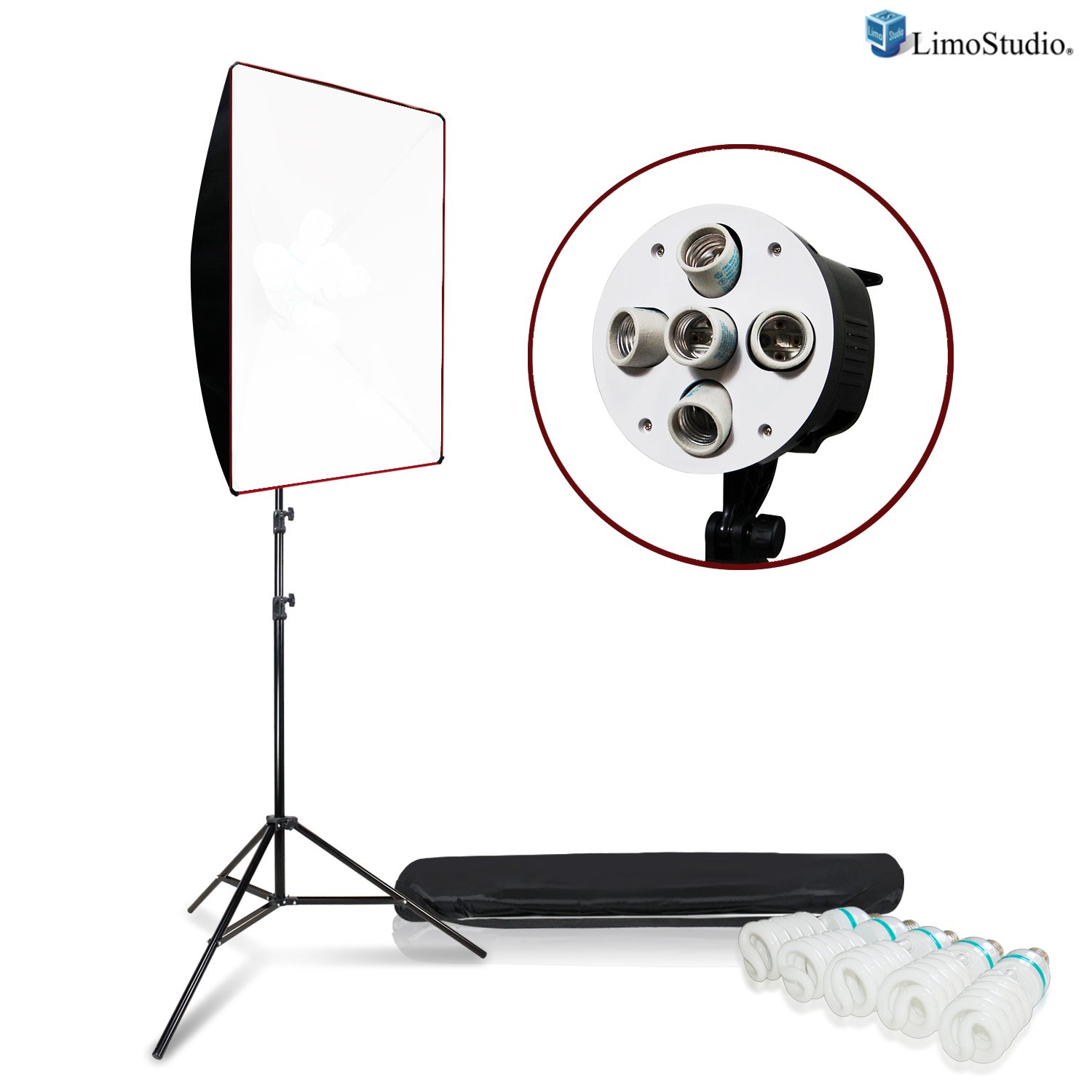"LimoStudio 18/"" x 27/"" Soft Box Lighting Kit with White Diffuser and Honeycomb Grid High Output CFL Bulb and Light Stands for Creating Soft Even Lighting for Professional Photo Video Shoots AGG2611"
