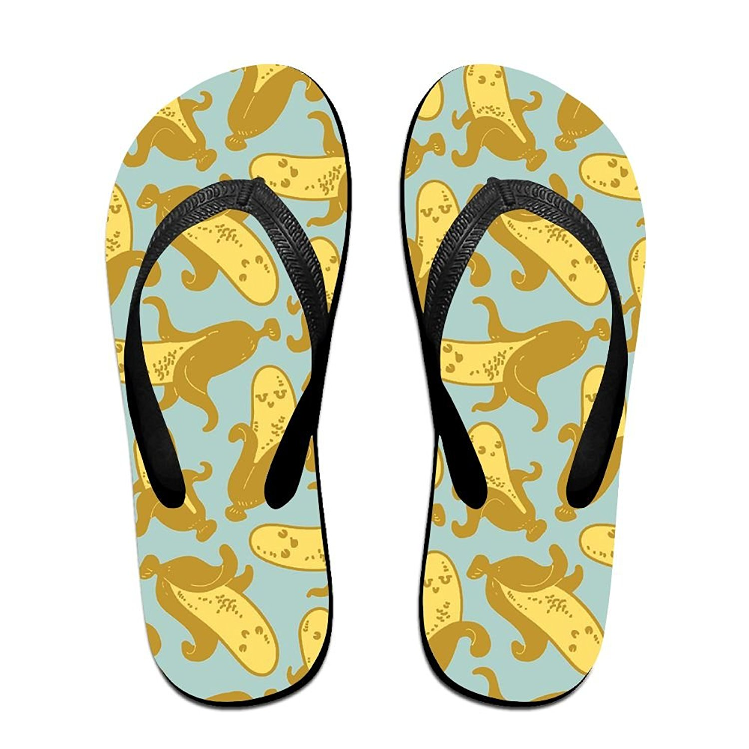 2539f42525afd Get Quotations · Couple Flip Flops Banana Undressed Funny Print Chic  Sandals Slipper Rubber Non-Slip House Thong
