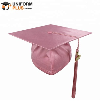 Wholesale shiny pink satin primary school graduation cap for children