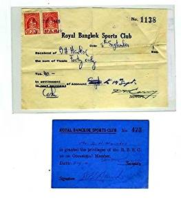 1949 Royal Bangkok Sports Club Receipt Revenue Stamps & Membership Card Thailand