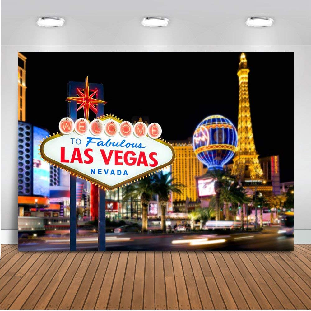 Mehofoto Welcome to Las Vegas Backdrop 7x5ft Poly Cotton Casino Cityscape Night Scenery Background Themed Party Decoration Banner Billboard Backdrops