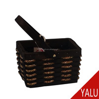 Practical woodchip basket with foldable wood handle for shopping storage H-16123