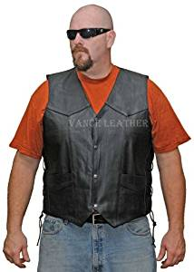 Mens Lined Lace Side Milled Leather Vest size 60