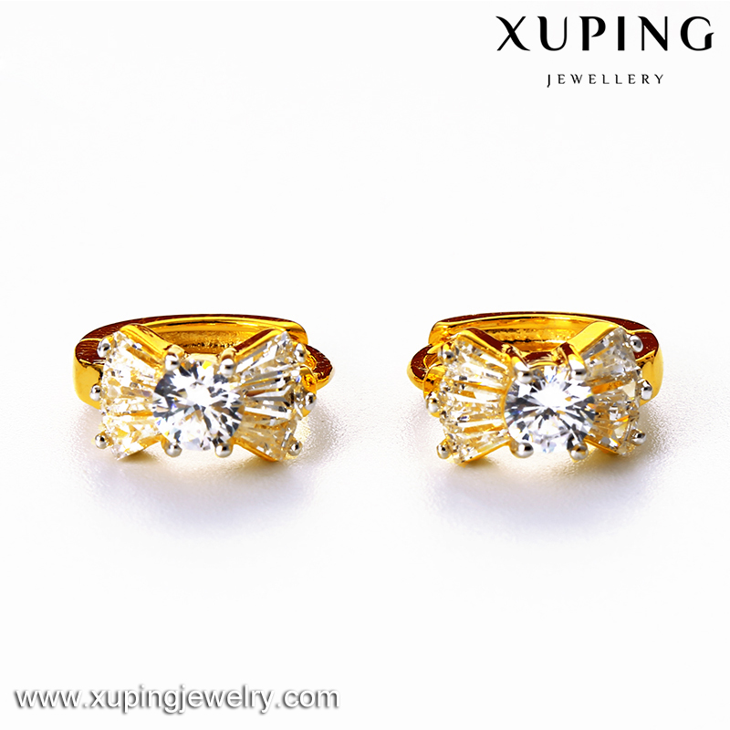 Xuping gold 24K shiny bow-form rhinestone strass earrings for women