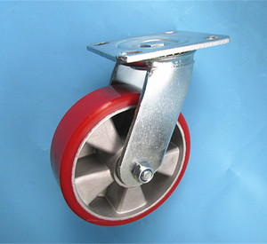 6inch 150mm double ball bearing heavy duty aluminum core pu swivel plate trolley caster wheel