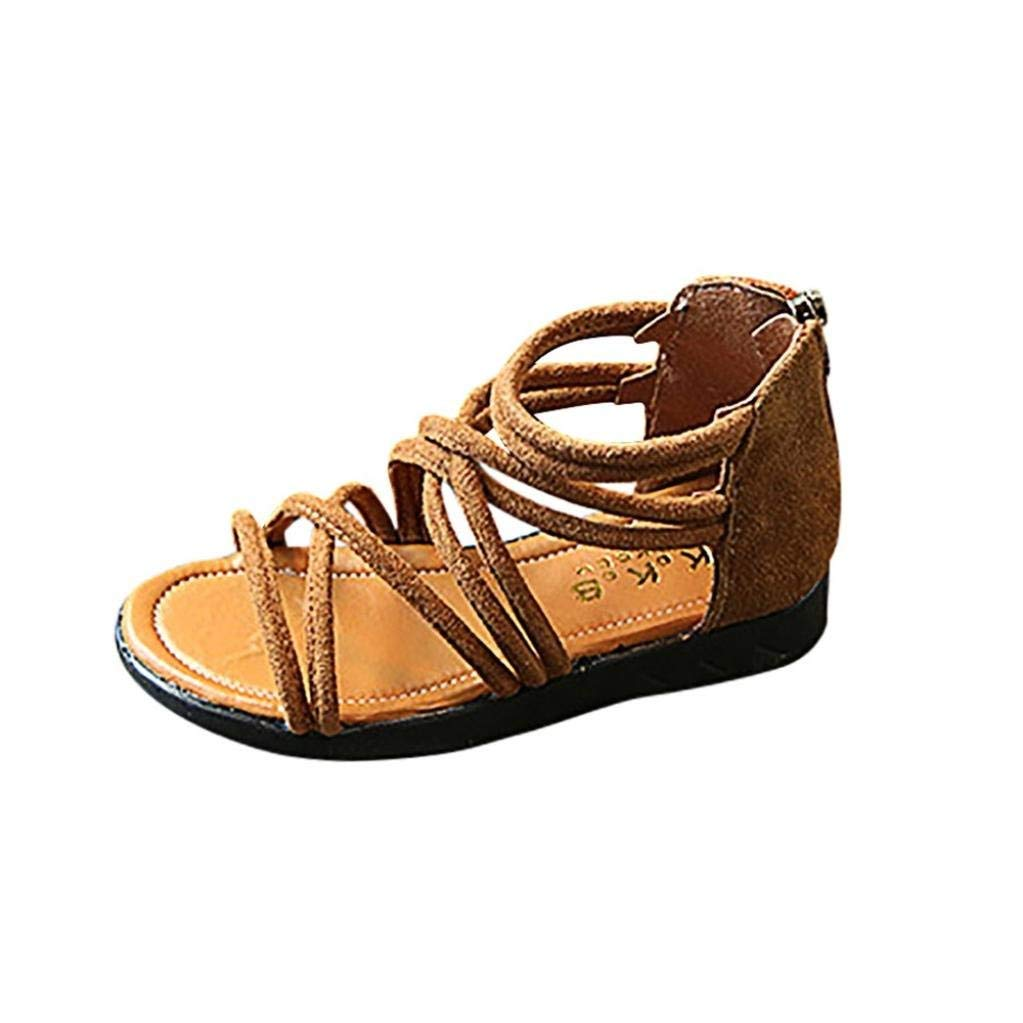 NEARTIME Kid Sandals, 2018 Summer Children Infant Baby Girls Solid Color Leather Boot Beach Zipper Casual Shoes (Age:5-5.5T, Brown)