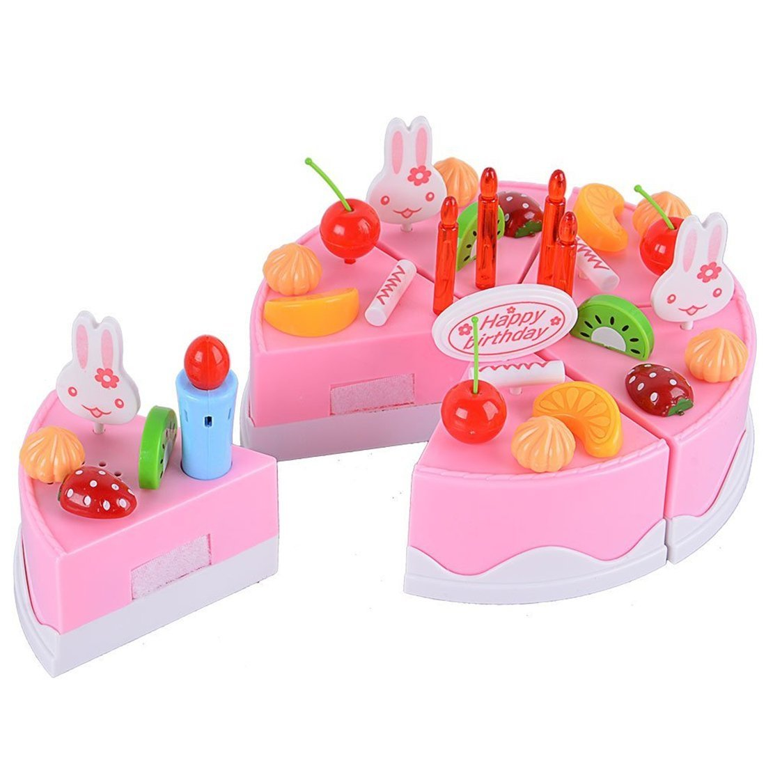 Party Toy Cake Velcro Play Food Set for Children Kids Play Food Set Plastic Kitchen Cutting Toy Pretend Play Food Assortment Toy Set Birthday Cake for Kids Girls - 75Pcs Pink
