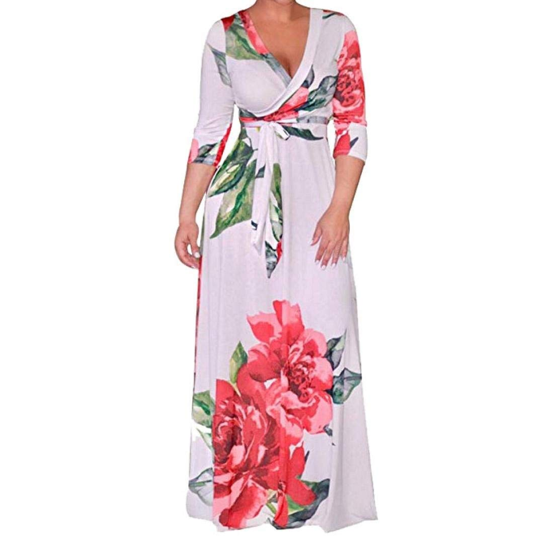 Zainafacai Ladies Fashion Women's Sexy Deep V Neck Floral Print Loose Dress Stretch Casual Long Maxi
