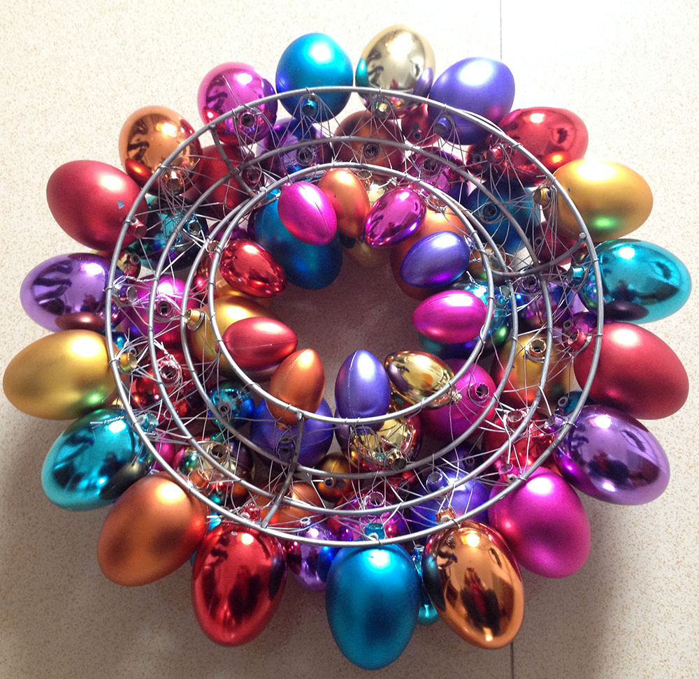 easter egg wreath decorations with metal frame