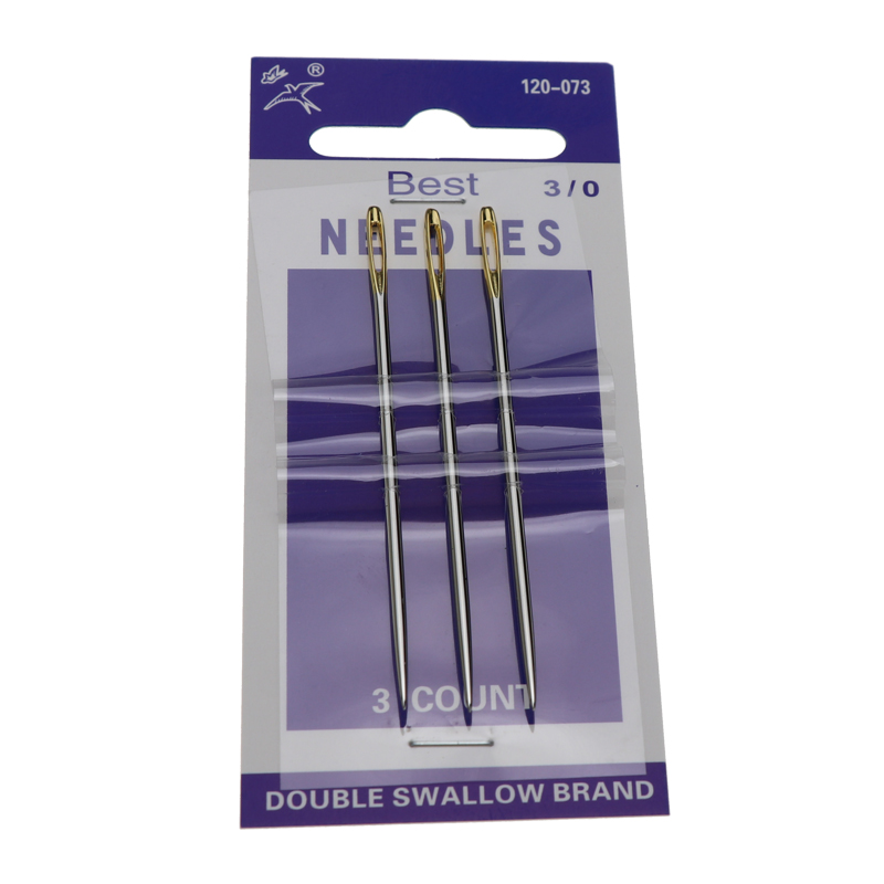 3PCS Large Leather Hand Sewing Needle Big Gold Eye Needles Embroidery Tapestry Home Wool DIY Sewing Tool 120-073