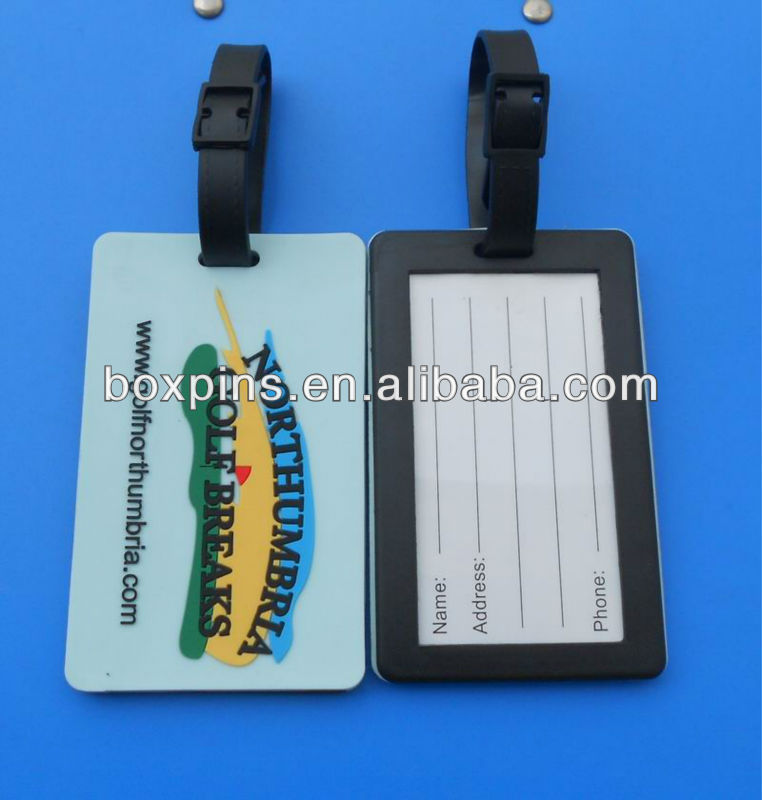 Custom 3d logo luggage tag eco-friendly pvc rubber tags for air travel