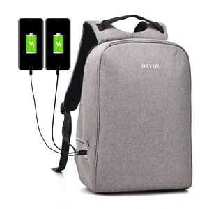 360 Degree Open Functional Quality Stylish Travel Anti Theft Double USB Business Men Backpack