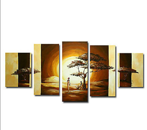 5 Panels 100% Handmade High End Large Amazing African Art