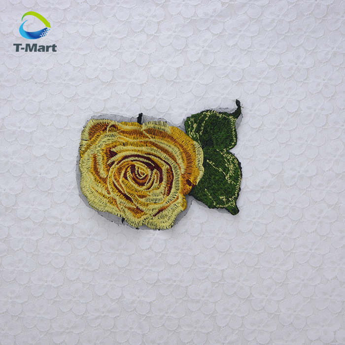Embroidery rose patch of large Yellow rose clothes patch DIY T shirt Flower patch Hand sewing applique