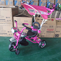 hot sale baby tricycle with pushbar and canopy musical and flashing baby trike