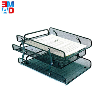Factory cheap school office stationery document metal mesh file desktop tray