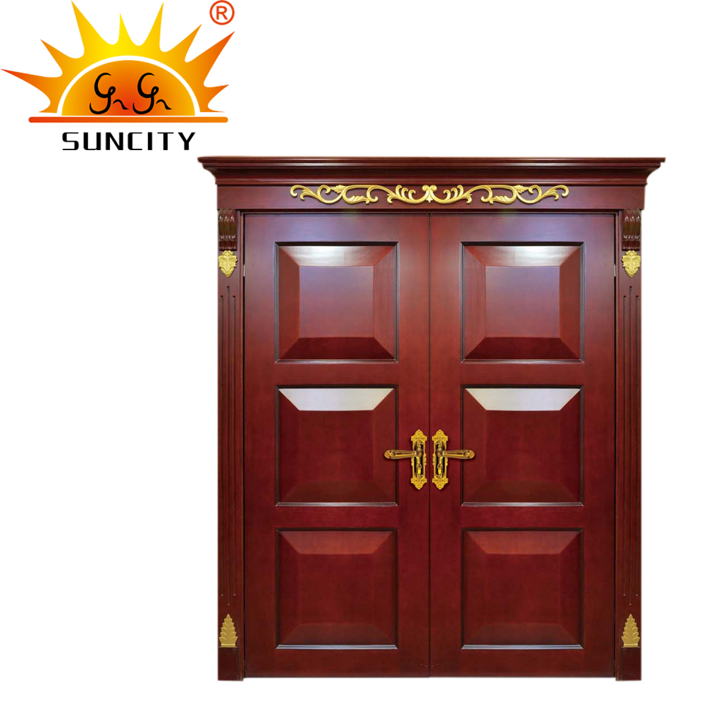 Handmade panel double solid wooden main wood door carving designs