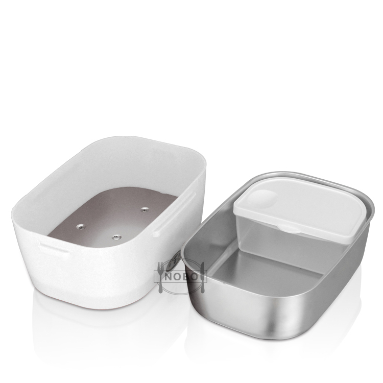 Stainless steel heat retaining food storage container, airtight lunch box