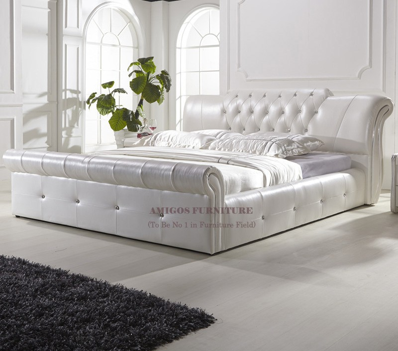 Modern Luxury Leather Bed With Light Usb For Home Furniture Twin Bedroom Sets S Full Size
