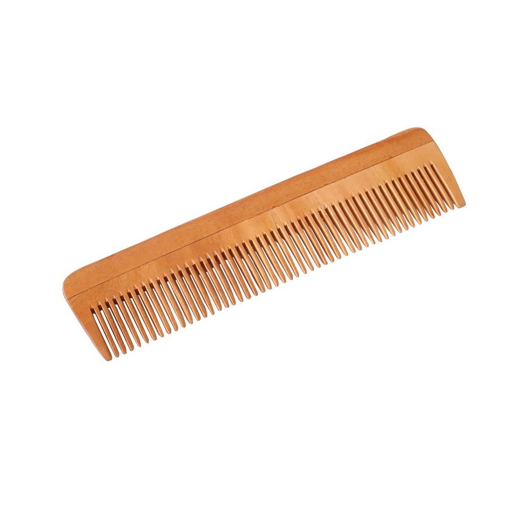 """HealthAndYoga(TM) Handcrafted Neem Wood Comb - Anti Dandruff, Non-Static and Eco-friendly- Great for Scalp and Hair health -7"""" Fine toothed"""