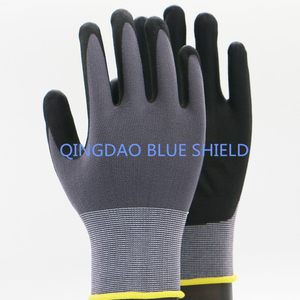 Micro foam nitrile coated gloves rubber coated glove safety gloves