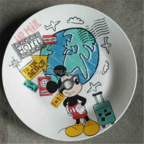 gro handel porzellan kinder mittagessen platte cartoon geschirr billig teller kinder keramik. Black Bedroom Furniture Sets. Home Design Ideas